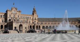 4K UltraHD Beautiful Plaza DE Espana in Sevilla, Spanje stock videobeelden