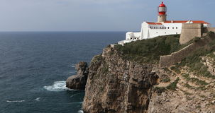 4K UltraHD Cape St. Vincent Lighthouse near Sagres, Portugal stock video footage