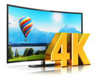 4K UltraHD curved TV Stock Photos