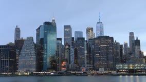 4K UltraHD-dag aan nacht timelapse van de lagere horizon van Manhattan stock videobeelden
