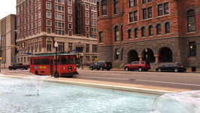 4K UltraHD Dallas street scene with trolley and fountain stock video