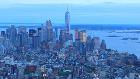 4K UltraHD Day to night timelapse of downtown Manhattan stock video footage