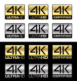 4K UltraHD. Differents vector 4K logos for UltraHD certified TV Royalty Free Stock Photos