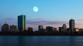 4K UltraHD Full Moon over Boston. 4K UltraHD A Full Moon over Boston stock video footage