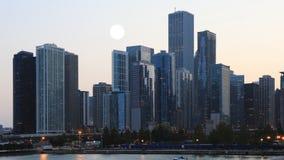 4K UltraHD Full Moon over Chicago stock footage