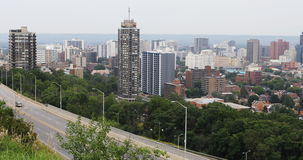 4K UltraHD Hamilton, Canada skyline with expressway in foreground stock video footage