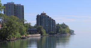 4K UltraHD Lake Ontario shore on a peaceful morning stock video