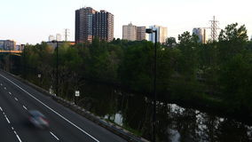 4K UltraHD Motion controlled pan timelapse of Don Valley Parkway traffic in Toronto stock video