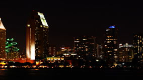 4K UltraHD A motion controlled timelapse of the San Diego skyline at night stock video