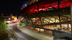 4K UltraHD A night timelapse by the interesting Shaw center in Ottawa, Canada stock video footage