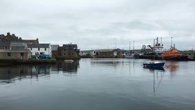 4K UltraHD Pan of Stromness harbor in Orkney, Scotland stock video footage