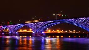 4K UltraHD The Peace Bridge, a timelapse at night stock video footage