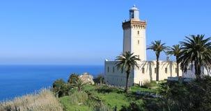 4K UltraHD Phare Cap Spartel Lighthouse near Tangier, Morocco. 4K UltraHD The Phare Cap Spartel Lighthouse near Tangier, Morocco stock footage