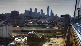 4K UltraHd Philadelphia a timelapse from the Franklin Bridge at dusk stock video