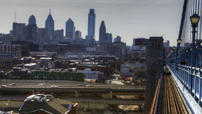 4K UltraHd Philadelphia a timelapse from the Franklin Bridge at twilight stock video footage