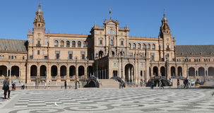 4K UltraHD Plaza de Espana in the city of Seville, Spain. Built in 1929 to host the Ibero-American Exposition of 1929 stock video
