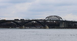 4K UltraHD Real time view of the Peace Bridge stock video footage