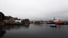 4K UltraHD Stromness harbor in Orkney, Scotland stock footage