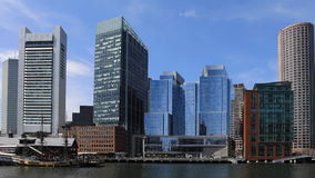 4K UltraHD Timelapse of the Boston harbor skyline on a beautiful day stock video