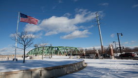 4K UltraHD A timelapse of a bridge in winter stock video