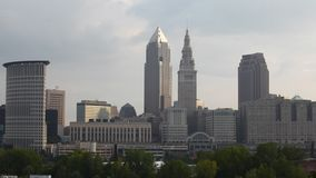 4K UltraHD Timelapse of the city center of Cleveland, Ohio on a sunny day stock video