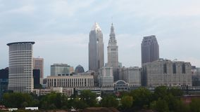 4K UltraHD Timelapse of the city center of Cleveland on a sunny day stock video footage