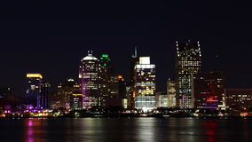 4K UltraHD Timelapse da skyline de Detroit na noite video estoque