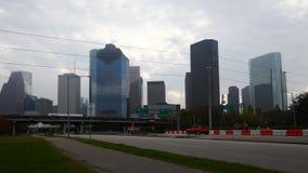4K UltraHD Timelapse de un centro de ciudad brumoso de Houston almacen de metraje de vídeo