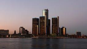 4K UltraHD Timelapse der Detroit-Skyline von Tag zu Nacht stock footage
