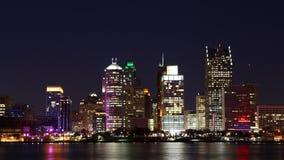4K UltraHD Timelapse des Detroits, Michigan Skyline nachts stock video footage