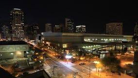 4K UltraHD Timelapse en la noche del centro de ciudad de Phoenix almacen de metraje de vídeo