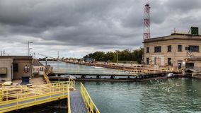 4K UltraHD Timelapse of fishing boat moves through the Welland Canal, Canada stock footage
