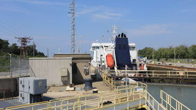4K UltraHD Timelapse of freighter moves through Lock of the Welland Canal, Canada stock footage