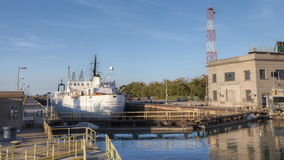 4K UltraHD Timelapse of Freighter moves through the Welland Canal, Canada stock footage