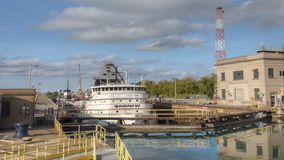 4K UltraHD Timelapse of Lake freighter moving through the Welland Canal, Canada stock footage