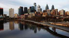4K UltraHd A timelapse pan of Philadelphia with a river in foreground stock video footage