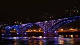 4K UltraHD Timelapse of the Peace Bridge at night stock video