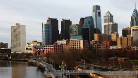 4K UltraHd A timelapse of Philadelphia with river in foreground stock footage