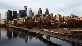 4K UltraHd Timelapse of Philadelphia with a river in foreground stock footage