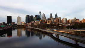 4K UltraHd Timelapse of Philadelphia with river in foreground stock video footage