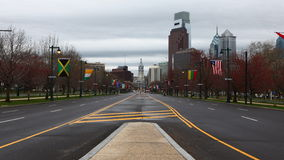 4K UltraHd A Timelapse of Philadelphia with traffic in foreground stock video footage