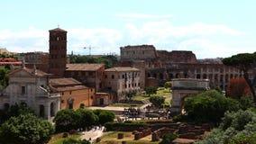 4K UltraHD Timelapse of the Roman Forum area in Rome stock video footage