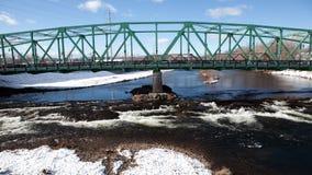 4K UltraHD Timelapse side view of a bridge in winter stock footage