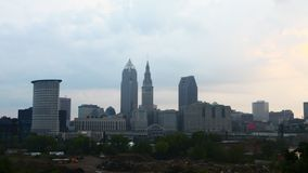 4K UltraHD Timelapse of the skyline of Cleveland, Ohio on a sunny day stock video