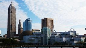 4K UltraHD Timelapse of the skyline of Cleveland on a sunny day stock footage