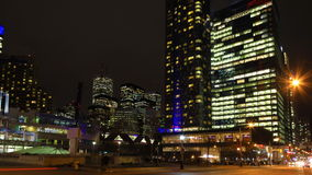 4K UltraHD Timelapse of Toronto, Canada`s downtown core at night stock video