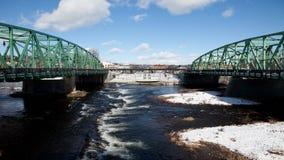 4K UltraHD A timelapse of twin bridges in winter stock footage