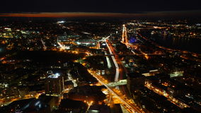 4K UltraHD Timelapse view of the Boston Skyline at night stock video footage