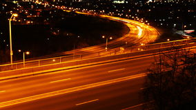 4K UltraHD Timelapse view of a busy expressway at night stock video footage