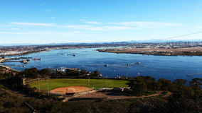 4K UltraHD A timelapse view of San Diego with ships in the foreground stock video